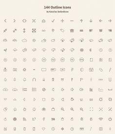 144 outline icons PSD