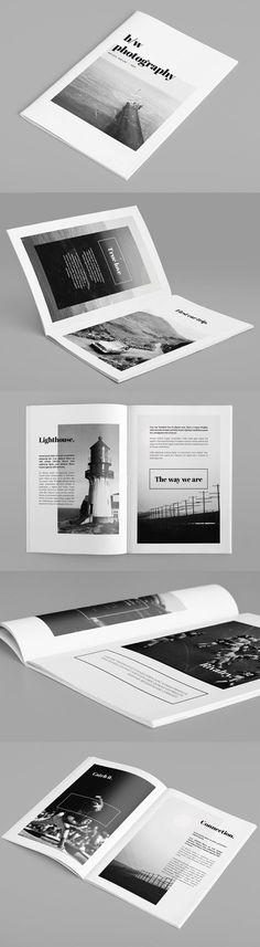 Minimal Photography Portfolio Brochure by Rounded Hexagon - editorial / black and white / s/w / Minimal Photography, Photography Portfolio, Book Photography, Simon Walker, Portfolio Web, Portfolio Design, Adobe Illustrator, Restaurant Poster, Restaurant Design