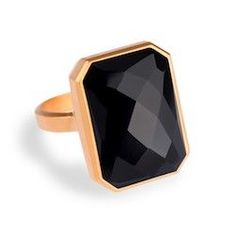 Ringly - Aries Activity Tracker / Smart Ring, Gold, Onyx, Black