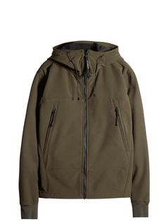 C.P. Company Goggle Hooded Soft Shell Jacket in Green