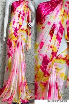 For order and more collection watsapp to 9491550579 Pin Pics, Casual Saree, Georgette Fabric, Silk Sarees, Tie Dye Skirt, Classy, Beautiful, Blouse, Women