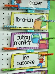Differentiated Kindergarten's Classroom Helpers I like the cubby monitor--that would be a good new job!
