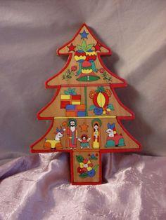 Vintage Folk Art Nativity Scene on Wooden Christmas Tree Wall Decor 9 inch