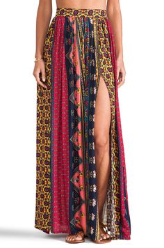 NOVELLA ROYALE Strange Melody Skirt in Red Ethnic Floral from REVOLVEclothing