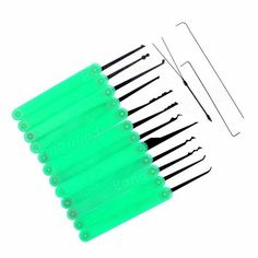 Only US$12.22, buy best Green 12pcs Unlocking Lock Pick Set Key Extractor Tool Lock Pick Tools + Torsion Wrenches + Canvas Bag Set sale online store at wholesale price.US/EU warehouse.