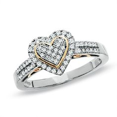 I LOVE two-tone jewelry.... this is a 1/3 CT. T.W. Diamond Pavé Heart Ring in 10K Two-Tone Gold from Zales