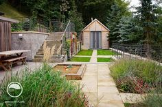 #landcape #architecture #garden #resting #place #forest #stairs #sandpit #shed #path