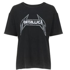 Metallica Tee by and Finally found on Polyvore featuring tops, t-shirts, black, loose tops, loose fit tops, loose t shirt, vintage style t shirts and cotton tee