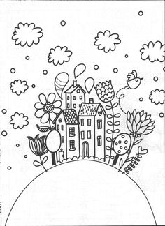 coloring pages - House Drawing Simple Colour Ideas house drawing Doodle Drawings, Easy Drawings, Doodle Art, Colouring Pages, Adult Coloring Pages, Coloring Books, Embroidery Stitches, Embroidery Patterns, Hand Embroidery