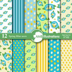 Blue Nests Spring Digital Papers and Backgrounds