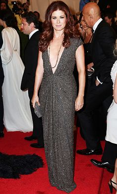 Debra Messing's deep brown locks and crystal sequin gown at the Met Gala. Get your own most flattering #hair #color to cover #gray hair at home here: http://www.haircolorforwomen.com/breakthrough-hair-color-system-your-salon-doesnt-want-you-to-know-about-p/