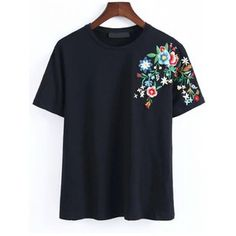 SheIn(sheinside) Black Flower Embroidery T-Shirt