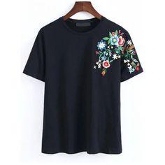 SheIn(sheinside) Black Flower Embroidery T-Shirt