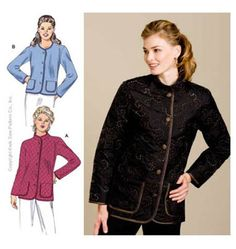 Kwik Sew K3438. Jackets with mandarin collar for quilted fabric.