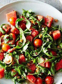 Watermelon, Tomato, and Four-Herb Salad Recipe on Summer Salad Recipes, Healthy Salad Recipes, Summer Salads, Gourmet Recipes, Cooking Recipes, Meal Recipes, Lunch Recipes, Healthy Snacks, Watermelon And Feta