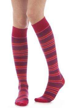 Ladies 1 Pair Elle Wool /& Viscose Striped Knee High Socks