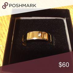 Men's titanium ring Men's size 11 titanium ring with 1 diamond accent in new condition never worn Zales Accessories Jewelry