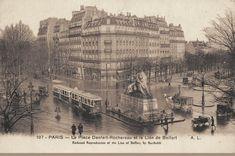 La place Denfert-Rochereau et le Lion de Belfort, vers 1910.