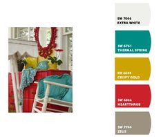 This is the palette I was shooting for in the guest room. This mustard is much better than the one I picked. Time to repaint? Mustard Living Rooms, Cream Living Rooms, Living Room Red, Living Room Colors, Living Room Turquoise, Grey Palette, Red Kitchen, Kitchen Ideas, Kitchen Decor