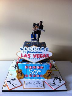 Elvis Presley/Vegas cake- For all your cake decorating supplies, please visit craftcompany.co.uk