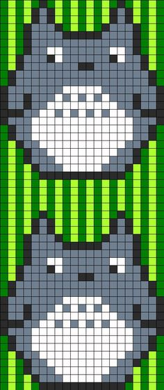 """Totoro perler bead pattern...one Totoro is 21 across, 23 high. Use 4 or 4.5 in squares for 74"""" or 84"""" wide quilt. Use 2.5"""" 3"""" or 3.5"""" squares for 42"""" 52.5"""" or 63"""" wide quilt"""