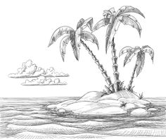 Hand drawn Beach black with white vector 03