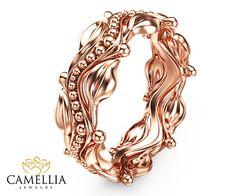 Blatt Design Rose Gold Hochzeit Ring 14k von CamelliaJewelry