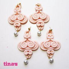 Orecchini  handmade ghirigori fimo - cernit rosa , by Tina's - HandMade Fimo & Cernit Jewels, 8,00 € su misshobby.com