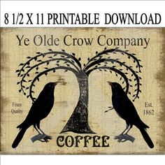 Instant Digital Download Crow Willow Tree Ad Iron On Transfer To Pillows  Tote Bags Tea Towels