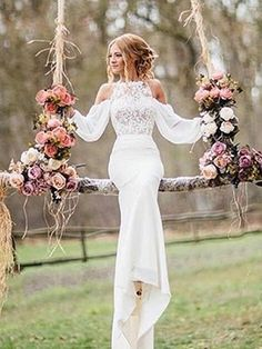 2019 Mermaid Wedding Dresses Off-the-Shoulder Long Sleeves Chiffon Bridal Gowns White Lace Wedding Dress, Western Wedding Dresses, Wedding Dress Chiffon, Affordable Wedding Dresses, Luxury Wedding Dress, Wedding Dress Sleeves, Long Wedding Dresses, Perfect Wedding Dress, Cheap Wedding Dress