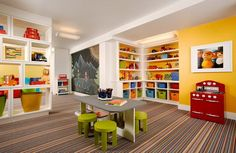 Yellow Wall Themes Decorations and Colorful Furniture in Preschool and Kindergarten Classroom Decorating Design Ideas - Improve and Decorate your Apartment and House