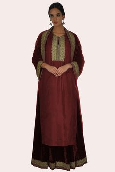 Paisley Gold Tilla Embroidered Maroon Silk-Velvet Lehenga Skirt Dress