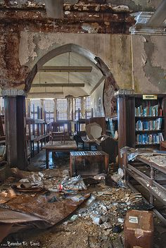 DETROIT Abandoned Mark Twain Branch of Detroit Public Library. Room to Read. How in the world did they let this happen? What a sin!  they should make the people that let this happen come in and restore it, what a shame.