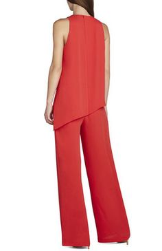 ShopStyle: BCBGMAXAZRIA Hadli Sleeveless Draped Jumpsuit Shirt Blouses, Shirts, Red Pants, Chiffon Shirt, Blouse Styles, Outfit Of The Day, Look, Trousers, Outfits