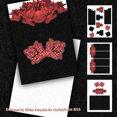 Racy Lace & Polka Dots Decoupage Gate Fold Mini Kit - This 5x7 card features black lace with red and white polka dots on a gate fold topper with a white insert.  A bold and beautiful card for those with a bit of sass.  Art by Hafapea.  #CardMakingKits #CraftsUPrint #LisaMayette #Hafapea