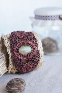 Мicro macrame worrier bracelet with jasper.; bohemian; forest; tribe