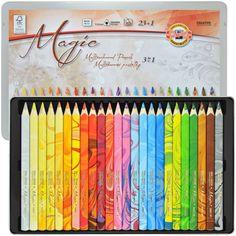 Lápis de Cor 3 em 1 Multicolorido 23 Cores Koh-I-Noor 3408 (17 cm). Este estojo é composto de 12 Lápis + 01 Blender (Clareador) em um lindo estojo de lata. www.sinoart.com.br R$ 335,23 (20/04/2015)