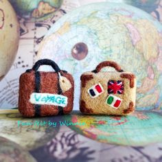 Bon Voyage Needle felted vintage style luggage/suitcase 2pcs