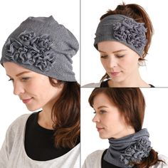 3 in 1 beanie headband and neckwarmer. Beautiful flower embellishment for a touch of class.  All new subscribers get 10% OFF their order. Free shipping on orders over $60.  #womensbeanie #mensbeanie #beanie #streetfashion #japanesehat #japanesefashion