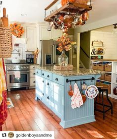 🍂 I thought I'd share a slightly different angle of our kitchen today. The island appears more blue when the sun… Kitchen Inspirations, Home, Kitchen Remodel, Kitchen Decor, Cottage Kitchen, Country Kitchen, Kitchen Dining, Home Kitchens, Interior Design Living Room
