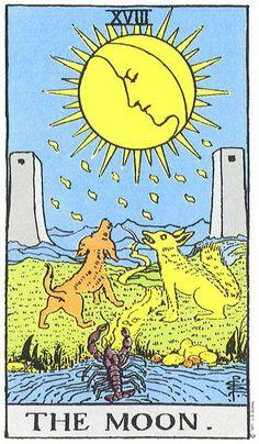 The Tarot card associated with Pisces. The Moon Tarot Card, The Sun Tarot, Tarot Card Spreads, Tarot Cards, Justice Tarot, Tarot Significado, Owl Wings, Zodiac Sign Tattoos, Tarot Major Arcana