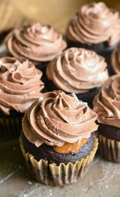 Chocolate Cupcakes with Salted Dulce de Leche Filling and Salted Chocolate Buttercream | from willcookforsmiles.com