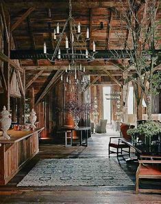 Rustic Barn Living Room. A great open floor plan with beautiful old exposed beams