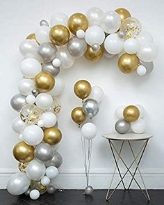 White and Gold Confetti Balloons Arch & Garland Kit 110 pcs Latex Metallic Pearlescent Balloon with Decorating Strip+Tying Tools+Glue Dots+Flower Clips+Silver Ribbons for Wedding Decoration Birthday Balloon Decorations, Gold Party Decorations, Graduation Decorations, Birthday Balloons, Gold Confetti Balloons, White Balloons, Baloon Garland, Balloon Arch Diy, Gold Birthday