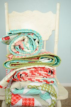 Quilts! Great colours for a baby's room