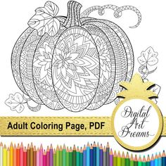 Adult Coloring Pages PDF Pumpkin Coloring Page by DigitalArtDreams