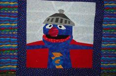 "Super Grover! 10"" paper pieced design by Katie Olson, free on fandominstitches.com."