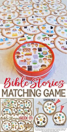 Seek IT! {Bible Stories Edition} PRINTABLE Matching Game - Game - My Computer is My Canvas, printable, gift idea, gift ideas Looking for a fun Bible Story themed game to play at home or at Sunday School? Sunday School Activities, Sunday School Lessons, Sunday School Crafts, Church Games, Kids Church, Bible Lessons For Kids, Bible For Kids, Primary Lessons, Bible Story Crafts