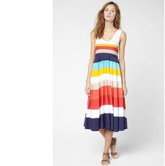 ELLE掲載★【LACOSTE】Multi-Colored Bold Stripe Tank Dress