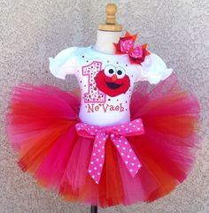 Cutest Little Elmo Girls Birthday Tutu Outfit